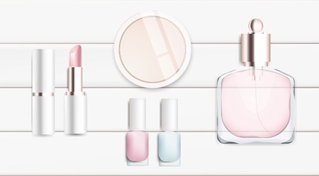 cheek: Fashion accessories collection. Makeup powder, lipstick, nail polish, perfume. Spring style organic cosmetics set isolated background. White and pink soft color romantic vector illustration design. Illustration