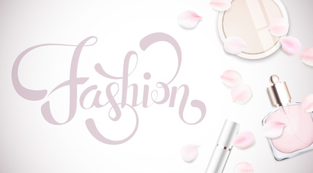 cheek: Fashion accessories collection. Makeup powder, lipstick, perfume with rose flower petals. Spring style organic cosmetics set isolated background. White and pink soft color romantic vector illustration design.