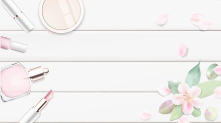 rouge: Fashion accessories collection. Makeup powder, lipstick, perfume with rose flower petals. Spring style organic cosmetics set isolated background. White and pink soft color romantic vector illustration design.