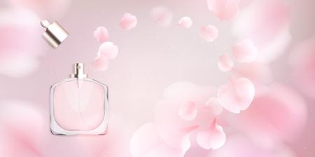 Collection d'accessoires de mode. Bouteille de parfum d'eau de toilette avec des pétales de fleur rose. Fond de cosmétiques bio style printemps. Conception d'illustration vectorielle romantique de couleur douce blanche et rose.