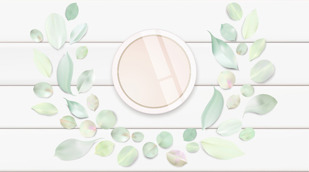 Fashion accessories collection. Makeup face skin powder with rose flower leaves. Spring style organic cosmetics pattern. White and pink soft color romantic vector illustration design.