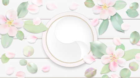 lotus effect: Fashion accessories collection. Makeup face skin cream with rose flower petals. Spring style organic cosmetics background. White and pink soft color romantic vector illustration design.