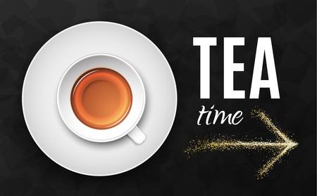 Luxury black background. Tea cup on dark stone table top view. Premium quality vector illustration design. Illustration