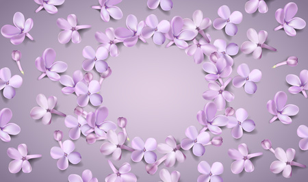 Soft pastel color floral 3d illustration on violet background. Purple Lilac flowers and petals watercolor style vector illustration template with place for text Illustration