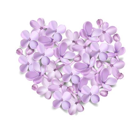 Soft pastel color floral 3d illustration on white background. Purple Lilac flowers and petals heart shape watercolor style vector illustration template Ilustracja
