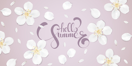 camomile tea: Soft pastel color floral 3d illustration on pink background. White wild Camomile and Sakura flowers with petals watercolor style vector template. Hello Summer text horizontal banner
