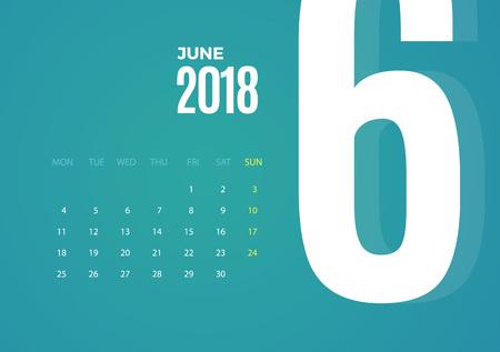 Wall June 2018 Calendar. Vector eps10 template design