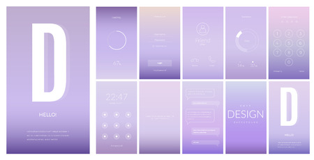 Modern UI, GUI vertical screen vector design for mobile app with UX and flat web icons. Wireframe kit for Lock Screen, Login page, Enter Passcode, User call, Application Loading and Stats Chart.