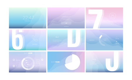 Modern UI, GUI screen vector horizontal design for business presentation slides or website page. Wireframe kit for Login page, Enter Passcode, User call, Data Diagram and Stats Chart. Çizim