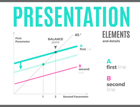 Vector modern infographic overview design template with data visualization for statistics, information presentation, annual graphs. Standard-Bild - 115208812
