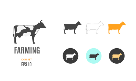Vector farming infographic template. Color cow icon design for your illustration or presentation Standard-Bild - 115208820