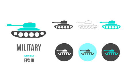 Vector military infographic template. Color tank icon sign, design for your illustration or army presentation Standard-Bild - 115208841