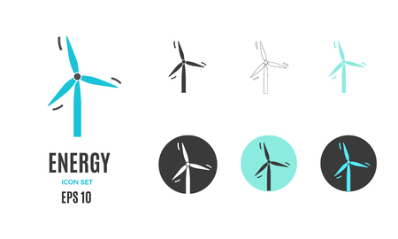 Vector renewable clean wind energy infographic template. Color windmill icon design for your illustration or firm presentation Standard-Bild - 115208849