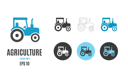 Vector agriculture infographic template. Color farming tractor icon design for your illustration or firm presentation