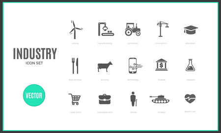 Vector industry infographic template. Color icon set design for your illustration or firm presentation