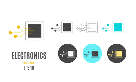 Vector electronics infographic template. Color tech icon sign, design for your illustration or technology information presentation Standard-Bild - 115208952
