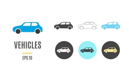 Vector car infographic template. Color vehicles icon sign, design for your illustration or information presentation Standard-Bild - 115208955