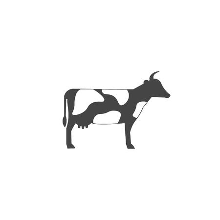 Vector farming infographic template. Black cow icon design for your illustration or presentation Standard-Bild - 115209027