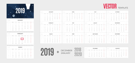 2019 Calendar. Vector quarterly template ready for print with fun space background and 3 month pages for wall. Week starts Monday.