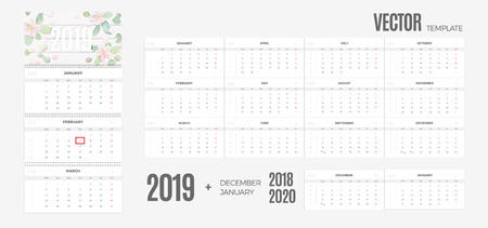 2019 Calendar. Vector quarterly template ready for print with soft floral background and 3 month pages for wall. Week starts Monday.
