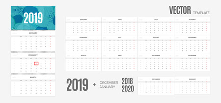 2019 Calendar. Vector quarterly template ready for print with background and 3 month pages for wall. Week starts Monday.