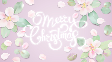 Christmas background greeting card. Vector color template with flower petals illustration. Xmas holyday pattern ready for print Ilustração
