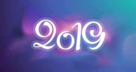 2019 New year background greeting card. Vector gradient template with space illustration and lettering. Creative holyday pattern ready for print or web