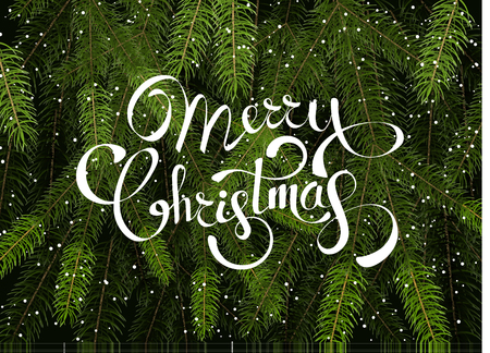Merry Christmas background vector template with green fir tree branches and lettering for greeting card, poster, banner or web design.
