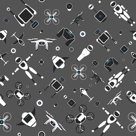 Modern robotic vector seamless pattern, illustration background with stylish robot, drone, autonomous vehicle, flying car and smart home assistant Future concept elements design Stockfoto - 126248772