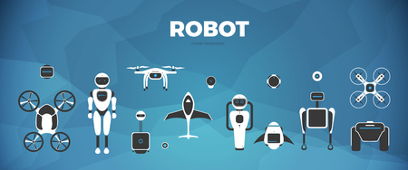 Modern robotic set vector illustration background with stylish robot, drone, autonomous vehicle, flying car and smart home assistant Future concept elements design
