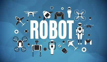 Modern robotic set vector illustration background with stylish robot, drone, autonomous vehicle, flying car and smart home assistant Future concept elements design Standard-Bild - 115223606