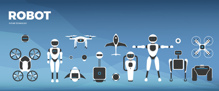 Modern robotic vector illustration background with stylish robot, drone, autonomous vehicle, flying car and smart home assistant. Future concept elements design