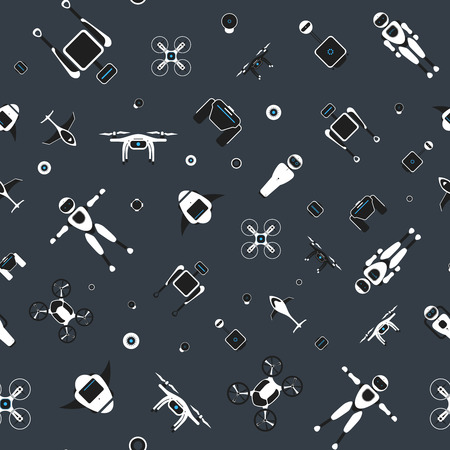 Modern robotic vector seamless pattern, illustration background with stylish robot, drone, autonomous vehicle, flying car and smart home assistant Future concept elements design