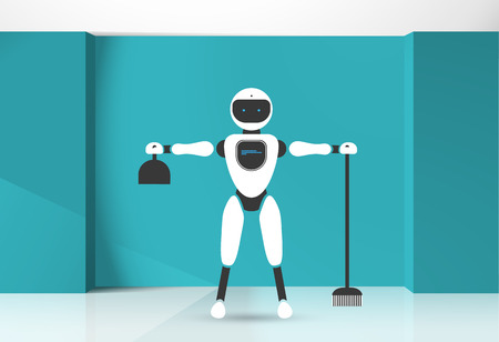 Modern robotic vector illustration background with stylish humanoid robot, smart home assistant, house helper in the blue room. Future concept elements design Standard-Bild - 115568115