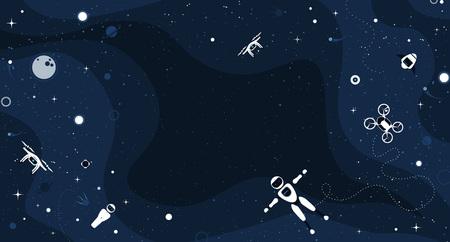 Fond d'illustration vectorielle de jeu robotique moderne avec drone élégant, véhicule autonome, voiture volante et robot humanoïde. Éléments de concept futur avec espace de copie