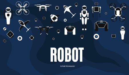 Modern robotic set vector illustration background with stylish robot, drone, autonomous vehicle, flying car and smart home assistant Future concept elements design Vektorové ilustrace