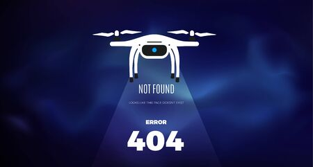 Modern robotic vector illustration web background with cool smart autonomous robot drone in space and error 404, page not found text.