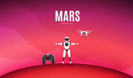 Modern robotic vector illustration. Background with stylish robot, drone, autonomous vehicle on red planet Mars surface. Future concept elements design