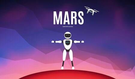 Modern robotic vector illustration. Background with stylish robot and drone on red planet Mars surface. Future concept elements design