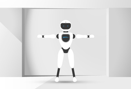 Modern robotic vector illustration background with stylish humanoid robot, smart home assistant in the white room. Future concept elements design