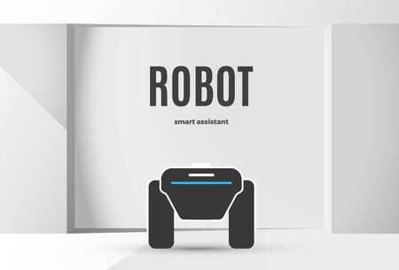 Modern robotic vector illustration background with stylish robot autonomous vehicle, smart home assistant in the white room with text. Future concept elements design Ilustração