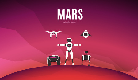 Modern robotic vector illustration. Background with stylish robot, drone, autonomous vehicle, rocket and smart assistant on red planet Mars surface. Future concept elements design
