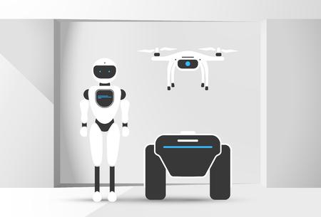 Modern robotic set vector illustration background with stylish robot, drone, autonomous vehicle, smart home assistant Future concept elements design