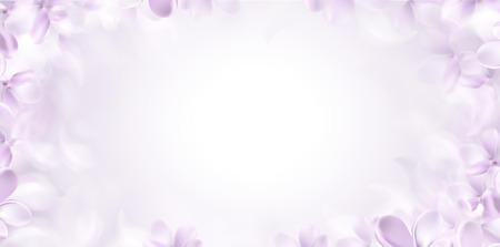 Soft spring white background with purple blurred flower petals vector illustration Standard-Bild - 122558968