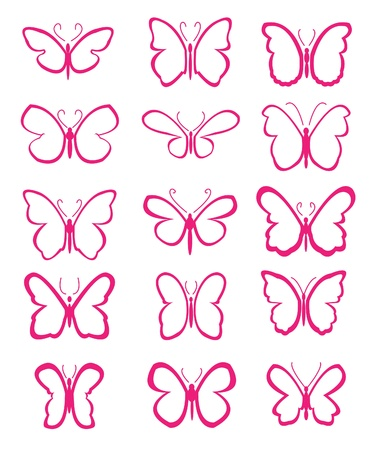 set of butterflies silhouettes with pink colour Vector