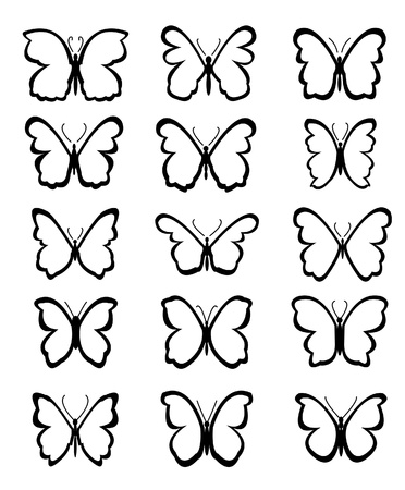 outline drawing: set of Butterfly Vector