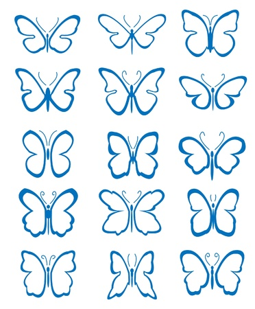 set of abstract butterflies  Vector