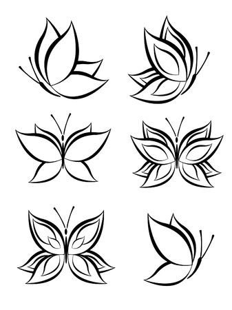 tattoo butterfly: set di farfalla Vettoriali