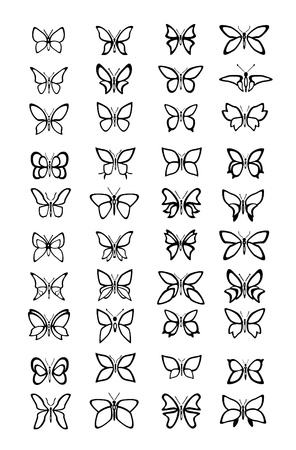 butterfly silhouette: Lots of different Butterfly illustration