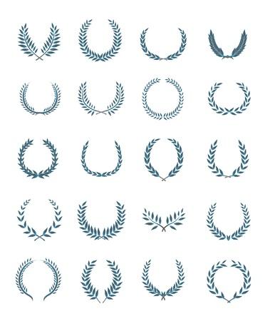 laurel branch: 20 wreaths vector set  Illustration